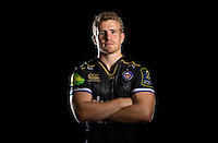 Jonathan Evans poses for a portrait in the 2015/16 European kit during a Bath Rugby photocall on September 8, 2015 at Farleigh House in Bath, England. Photo by: Patrick Khachfe / Onside Images