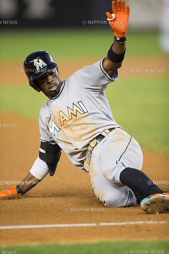 Dee Gordon (Marlins),<br /> JUNE 18, 2015 - MLB :<br /> Dee Gordon of the Miami Marlins slides into third base during the Major League Baseball game against the New York Yankees at Yankee Stadium in the Bronx, New York, United States. (Photo by Thomas Anderson/AFLO) (JAPANESE NEWSPAPER OUT)