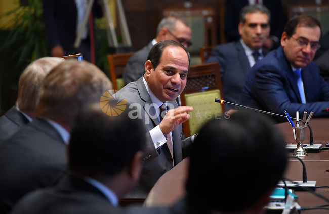 Egyptian President Abdel Fattah al-Sisi attends the production ceremony of the natural gas fields project, in Delta North Egypt, on May 10, 2017. Photo by Egyptian President Office