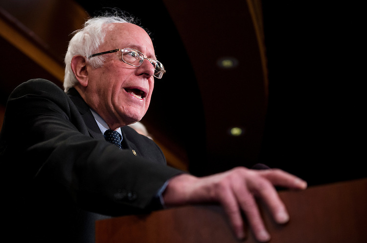 UNITED STATES - FEBRUARY 28: Sen. Bernie Sanders, I-Vt., speaks during a news conference on legislation that will allow for drug importation while maintaining important safety standards on Tuesday, Feb. 28, 2017. (Photo By Bill Clark/CQ Roll Call)