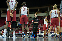 FRESNO, CA--Head Coach Tara VanDerveer instructs her team during a practice day in preparation to take on Duke at the Save Mart Center for the West Regionals Championships of the 2012 NCAA Championships.