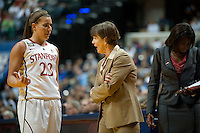 INDIANAPOLIS, IN - APRIL 3, 2011: Head Coach Tara VanDerveer discusses with Jeanette Pohlen during the NCAA Final Four against Texas A&M at Conseco Fieldhouse  in Indianapolis, IN on April 1, 2011.