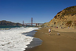 San Francisco: Baker Beach with Golden Gate Bridge in background.  Photo # 2-casanf83352.  Photo copyright Lee Foster