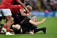 Brodie Retallick of New Zealand appeals to the referee. Rugby World Cup Pool C match between New Zealand and Tonga on October 9, 2015 at St James' Park in Newcastle, England. Photo by: Patrick Khachfe / Onside Images