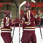 Austin Cangelosi (BC - 26), Johnny Gaudreau (BC - 13), Ian McCoshen (BC - 3) - The visiting Boston College Eagles defeated the Harvard University Crimson 5-1 on Wednesday, November 20, 2013, at Bright-Landry Hockey Center in Cambridge, Massachusetts.