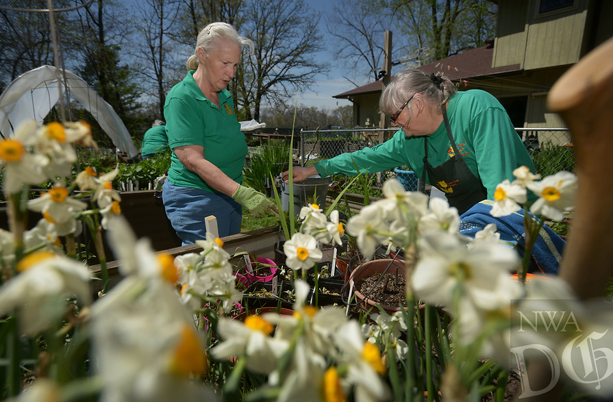 NWA Democrat-Gazette/BEN GOFF @NWABENGOFF<br /> Burnie Ott (left), president of the Garden Club of Rogers, and the club's plant sale chair Phyllis Stair help Saturday, April 8, 2017, as members of the club prepare for their 42nd annual Plant &amp; Bake Sale at Stair's home in Rogers. The sale will be held at a new location this year, 1902 N. Dixieland Road in Rogers, on Saturday April 22 from 8:00am to 1:00pm.