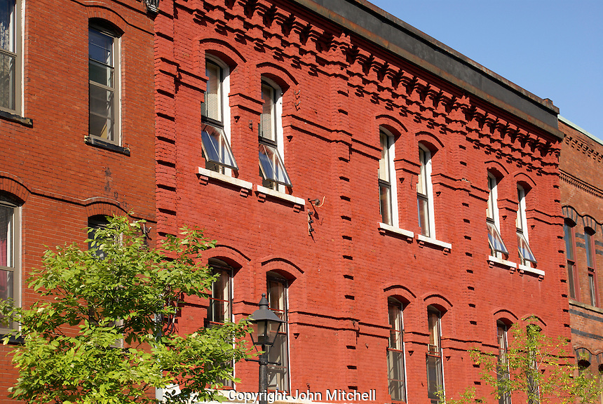 Facades of Victorian buildings in the city of Saint John, New Brunswick, Canada