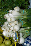 Spring onions for sale at farmers market,Tenerife, Canary Islands.