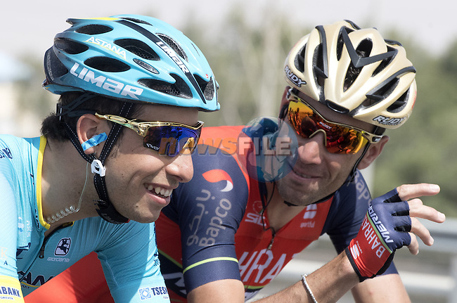 Fabio Aru (ITA) Astana Pro Team and Vincenzo Nibali (ITA) Bahrain-Merida in action during Stage 1 Emirates Motor Company Stage of the 2017 Abu Dhabi Tour, running 189km from Madinat Zayed through the desert and back to Madinat Zayed, Abu Dhabi. 23rd February 2017<br /> Picture: ANSA/Claudio Peri | Newsfile<br /> <br /> <br /> All photos usage must carry mandatory copyright credit (&copy; Newsfile | ANSA)