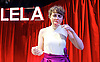 Lela &amp; Co <br /> by Cordelia Lynn <br /> directed by Jude Christian<br /> at the Royal Court Theatre, London, Great Britain <br /> press photocall <br /> 7th September 2015 <br /> <br /> Katie West <br /> as Lela <br /> <br /> <br /> <br /> Photograph by Elliott Franks <br /> Image licensed to Elliott Franks Photography Services