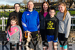 l-r Holly Barrett, Carmel Courtney, Paul Barrett, Elis the dog, Sue, Alfie and Sinead Barrett all from Beaufort pictured at Charles O'Shea Memorial 5km and 10km Run in the Beaufort on New Year morning.