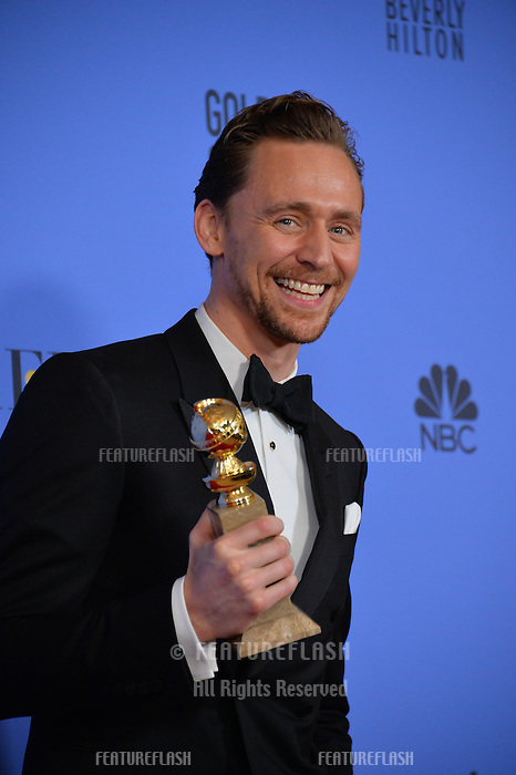 Tom Hiddleston at the 74th Golden Globe Awards  at The Beverly Hilton Hotel, Los Angeles USA 8th January  2017<br /> Picture: Paul Smith/Featureflash/SilverHub 0208 004 5359 sales@silverhubmedia.com