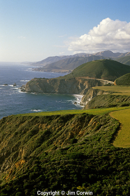 Scenic landscape along California coastline with rock formations near Big Sur along Highway 1 California USA