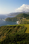 Scenic landscape along California coastline with rock formations near Big Sur along Highway 1 California USA