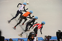 OLYMPICS: SOCHI: Iceberg Skating Palace, 13-02-2014, Shorttrack, Men's 1000m, Heats, John Eley (#217 | GBR), Niels Kerstholt (#247 | NED), Chris Creveling (#259 | USA), Charle Cournoyer (#203 | CAN), ©photo Martin de Jong
