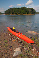 Kayak on Lower Negro Island Sand Bar, Castine, Maine, US