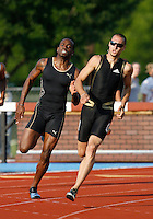 Jeremy  Wariner(right), won the 400m dash with a time of 44.66secs. with Sunjay Ayres(left), finishing 2nd. in a time of 45.37secs. .@ the Michael Johnson Classic held @ Baylor Univ., Waco,Texas on Saturday, April 21, 2007. Photo by Errol Anderson, The Sporting Image.