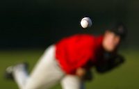 James Branaman Central Kitsap's Kevin Crowley delivers a pitch for the Post 68 Barons against the Olympic Tigers in their Junior Legion matchup Tuesday night at Legion Field in Bremerton, Wash.