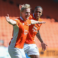 Blackpool's Mark Cullen celebrates scoring the opening goal with Neil Danns<br /> <br /> Photographer Alex Dodd/CameraSport<br /> <br /> The EFL Sky Bet League Two - Blackpool v Cheltenham Town - Saturday 22nd April 2017 - Bloomfield Road - Blackpool<br /> <br /> World Copyright &copy; 2017 CameraSport. All rights reserved. 43 Linden Ave. Countesthorpe. Leicester. England. LE8 5PG - Tel: +44 (0) 116 277 4147 - admin@camerasport.com - www.camerasport.com
