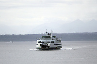 July 22, 2008:   The Wenatchee Washington State Ferry heading from Bainbridge Island makes it's way towards the Seattle terminal in Seattle, Washington.