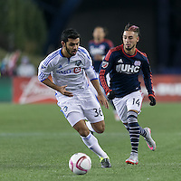 Foxborough, Massachusetts - October 17, 2015:  In a Major League Soccer (MLS) match, Montreal Impact (white) defeated the New England Revolution (blue/white), 1-0, at Gillette Stadium.