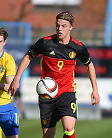 20170323 - BEVEREN , BELGIUM : Belgian Jorn Vancamp pictured during the UEFA Under 19 Elite round game between Sweden U19 and Belgium U19, on the first matchday in group 7 of the Uefa Under 19 elite round in Belgium , thursday 23 th March 2017 . PHOTO SPORTPIX.BE | DIRK VUYLSTEKE