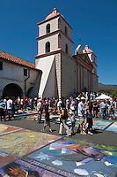 I Madonnari Itallian street painting festival at Santa Barbara Mission, California, 2011