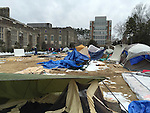 21 February 2015: Krzyzewskiville, a student campground outside of Cameron Indoor Stadium, lays in ruins after the students had left to attend the game. The Duke University Blue Devils hosted the Clemson University Tigers at Cameron Indoor Stadium in Durham, North Carolina in a 2014-16 NCAA Men's Basketball Division I game.