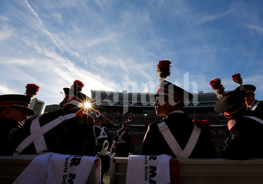 Ohio State Marching band members wait to march over to St. John Arena for the skull session prior to the game between Ohio State and Wisconsin at Ohio Stadium on Saturday, September 28, 2013. (Columbus Dispatch photo by Jonathan Quilter)