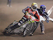 Heat 4 - Tomicek (blue), Hefenbrock (yellow) - Lakeside Hammers vs Peterborough Panthers - Sky Sports Elite League at Arena Essex, Purfleet - 31/08/07  - MANDATORY CREDIT: Gavin Ellis/TGSPHOTO - SELF-BILLING APPLIES WHERE APPROPRIATE. NO UNPAID USE. TEL: 0845 094 6026..
