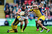 Adam Thompstone of Leicester Tigers takes on the Worcester Warriors defence. Aviva Premiership match, between Leicester Tigers and Worcester Warriors on October 8, 2016 at Welford Road in Leicester, England. Photo by: Patrick Khachfe / JMP