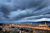 Florence Italy at dawn from Michelangelo Overlook.