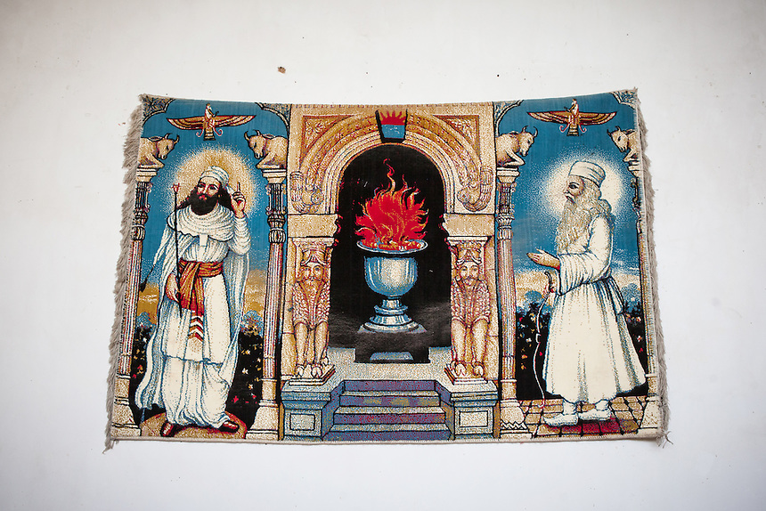 A depiction of Zoroastrian deities along with the eternal flame in a hotel at the old city of Yazd. Although conservative, the city of Yazd is one of the most tolerant in Iran. And Yazd also has the largest population of Zoroastrian in Iran.