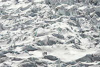 Climbers return through the Khumbu Icefall after a day at camp II on Mount Everest. The icefall is regarded as one of the most dangerous stages of the South Col route to Everest's summit. There have been more deaths in the Khumbu Icefall than any other area on Everest.