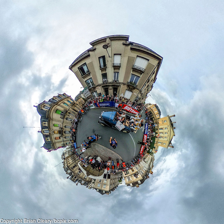 Driver's parade, 360 degree, Little Planet, taken with Ricoh Theta S 360 degree camera, Le Mans, France, June 2016.  (photo by Brian Cleary/www.bcpix.com)
