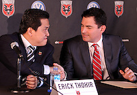 WASHINGTON, DC-JULY 10,2012:  Erick Thohir shakes hands with Jason Levien during a D.C. United ownership press conference at the POV Lounge in the W Hotel, Washington, DC.