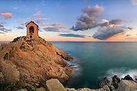 "The ""Cappelletta"" of Alassio, the Memorial for the sailors who lost their lives at sea. Taken on a beautiful windy evening at the beginning of November, this is stitched from six vertical takes."