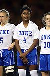 22 November 2013: Duke's Natasha Anasi (4). The University of Florida Gators played the Duke University Blue Devils at Koskinen Stadium in Durham, NC in a 2013 NCAA Division I Women's Soccer Tournament Second Round match. Duke won the game 1-0.