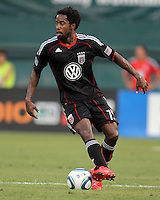 Clyde Simms #19 of D.C. United during an MLS match against the Los Angeles Galaxy at RFK Stadium on July 18 2010, in Washington D.C. Galaxy won 2-1.