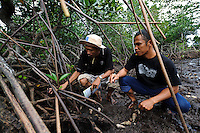 Bapak Juanda Datundugon with a member of the village mangrove working group in a mangrove area, Dudepo, Bolmong Selatan, Sulawesi, Indonesia.