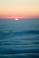 aerial photograph fog and sunset San Mateo County, California