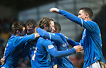 St Johnstone v Dundee United.....29.12.13   SPFL<br /> Stevie May celebrates his third goal with Gary McDonald, Nigel Hasselbaink, Gary Miller and Gwion Edwards<br /> Picture by Graeme Hart.<br /> Copyright Perthshire Picture Agency<br /> Tel: 01738 623350  Mobile: 07990 594431