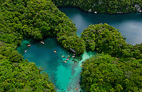 A favorite Kayaking spot, Aerial of the Rockislands, Mandarin Fish lake Palau Micronesia