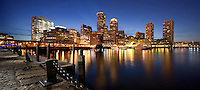 Sunset, night lights, Rowes Wharf area, from Moakley Court House, Boston, MA pano, chain