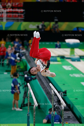 Kohei Uchimura (JPN),<br /> AUGUST 8, 2016 - Artistic Gymnastics :<br /> Kohei Uchimura of Japan competes on the parallel bars in the Men's Team Final at Rio Olympic Arena during the Rio 2016 Olympic Games in Rio de Janeiro, Brazil. (Photo by Yuzuru Sunada/AFLO)
