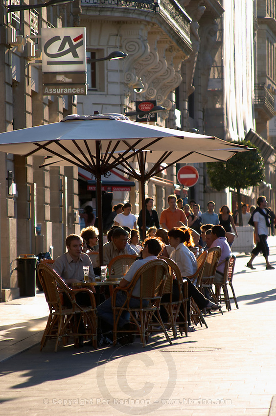 A cafe. On Cours du Chapeau Rouge. Bordeaux city, Aquitaine, Gironde, France