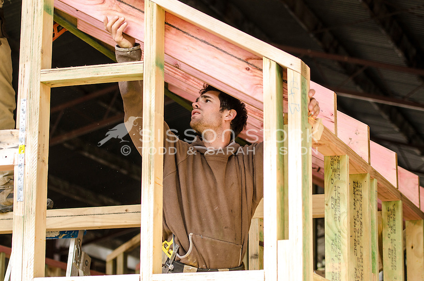 New Zealand Photos | Builder installing timber into a house frame on a ...