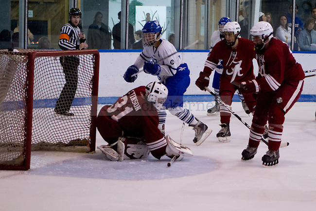 Dylan Rohar (A) sneaks a shot past the goalie during the UK vs Alabama Hockey Match in Lexington, Ky., on Saturday, October 20, 2012. Photo by Matt Burns | Staff