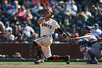 SAN FRANCISCO, CA - APRIL 27:  Hunter Pence #8 of the San Francisco Giants bats against the Los Angeles Dodgers during the game at AT&T Park on Thursday, April 27, 2017 in San Francisco, California. (Photo by Brad Mangin)