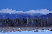 The Presidential Range at dusk from Pondicherry Wildlife Refuge, near Cherry Pond, in Jefferson, New Hampshire.